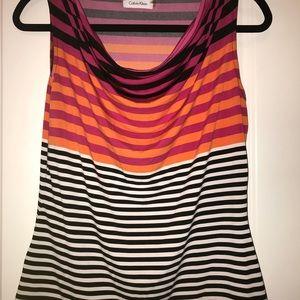 Calvin Klein blouse with black and white stripes.